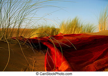 moroccan desert scenery with desert grass plantation and ornametal red blanket, dunes on the horizon and neverending footsteps on the glowing sand surface