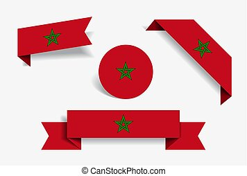 Moroccan flag stickers and labels. Vector illustration. -...
