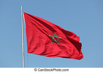 Moroccan flag waving in the wind