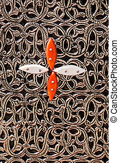 Moroccan furniture design texture - Close up view of...