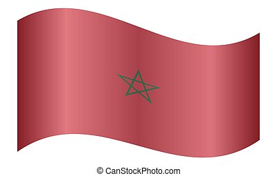Flag of Morocco waving on white background