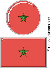 Moroccan round and square icon flag.