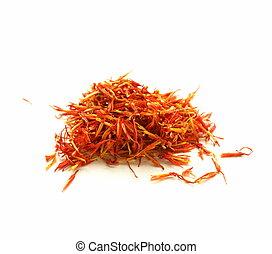 moroccan saffron treads in pile, macro shot soft focus