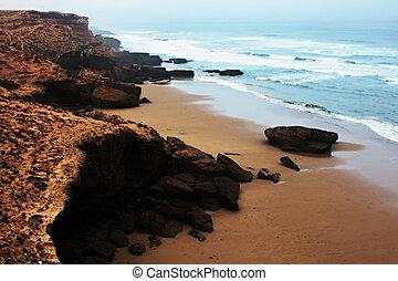 Moroccan shore of Atlantic ocean