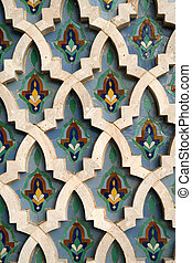 Detail of Mosaic Tile wall at the Hassan II Mosque in Casablanca, Morocco