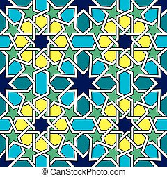 Moroccan tiles pattern, Moorish seamless vector design,...