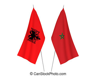 Morocco and Albania flags - National fabric flags of Morocco...