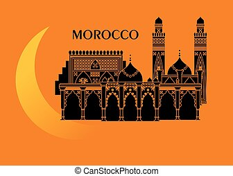morocco and moon - illustration in the style of a flat...