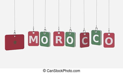 MOROCCO caption and Moroccan flag on swinging plates,...