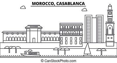Morocco, Casablanca architecture skyline: buildings, silhouette, outline landscape, landmarks. Editable strokes. Flat design line banner, vector illustration concept.