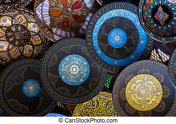 Handcrafts shot at the market in Marocco