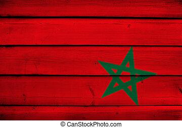 Morocco Flag on wood background
