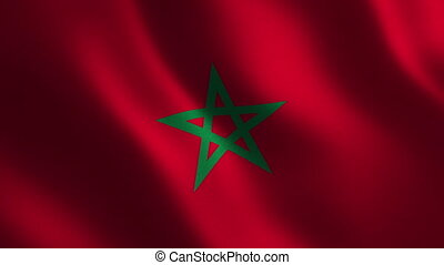 Morocco flag waving 3d. Abstract background. Loop animation....