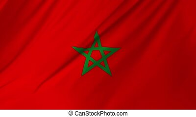 Morocco flag waving at wind 2 in 1 - Morocco flag waving at...