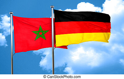 Morocco flag with Germany flag, 3D rendering
