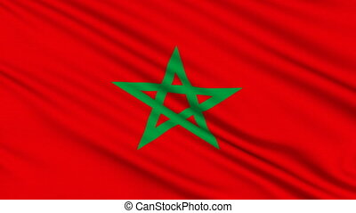Morocco flag, with real structure of a fabric
