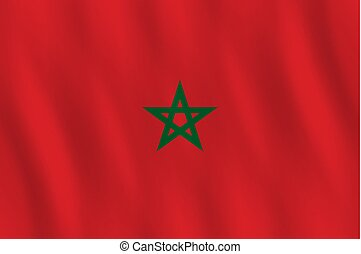 Morocco flag with waving effect, official proportion.