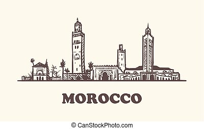 Morocco hand drawn skyline sketch vector illustration.