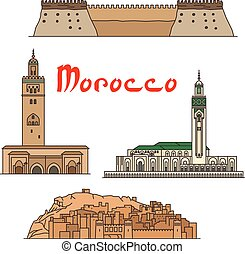 Morocco historic landmarks and sightseeings. Vector detailed architecture icons of Koutoubia Mosque, Ait Ben Haddou, Hassan II Mosque, Agadir Kasbah fortress for souvenir decoration