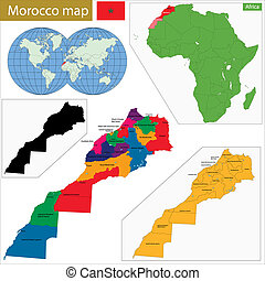 Morocco map - Administrative division of the Kingdom of...