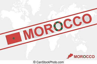 Morocco map flag and text illustration