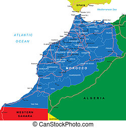 Highly detailed vector map of Morocco with administrative regions, main cities and roads.
