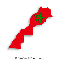 Morocco map with the flag inside