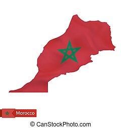 Morocco map with waving flag of Morocco.