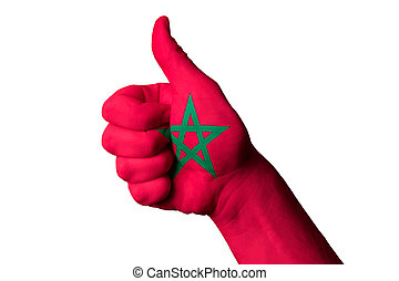 morocco national flag thumb up gesture for excellence and achiev