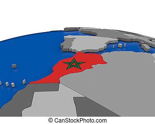 Morocco on 3D globe