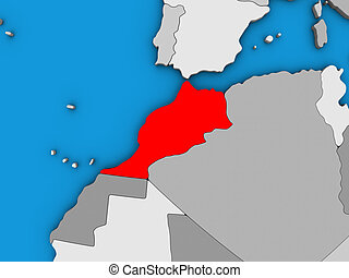 Morocco on 3D map