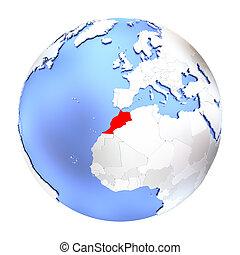 Morocco on metallic globe isolated