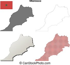 Morocco outline map set