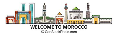Morocco outline skyline, Moroccan flat thin line icons, landmarks, illustrations. Morocco cityscape, Moroccan vector travel city banner. Urban silhouette