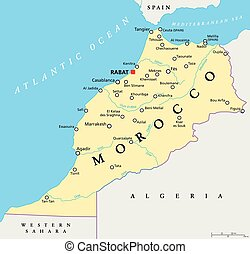 Morocco Political Map - Morocco political map with capital...