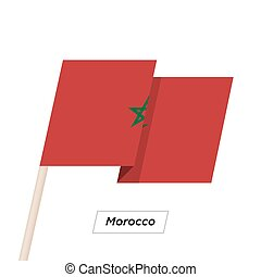 Morocco Ribbon Waving Flag Isolated on White. Vector Illustration.