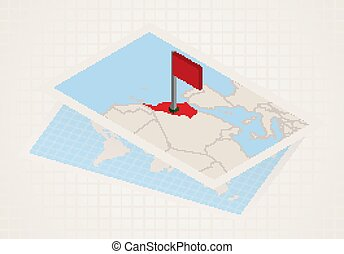 Morocco selected on map with 3D flag of Morocco.