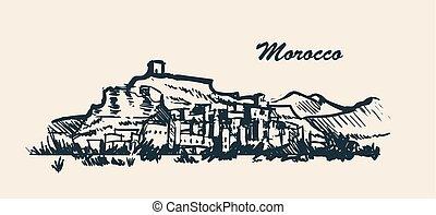 Morocco skyline hand drawn sketch vector illustration.
