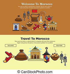 Morocco travel symbols vector famous landmarks