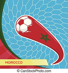 Morocco waving flag and soccer ball in goal net