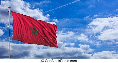 Morocco waving flag on blue sky. 3d illustration