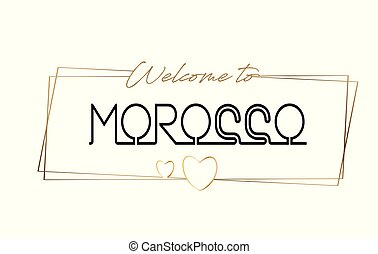 Morocco Welcome to text Neon lettering typography. Word for logotype, badge, icon, postcard, logo, banner Vector Illustration.