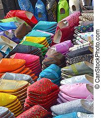 Marockanskor, tofflor. Gjord, de, några, tid, marockansk