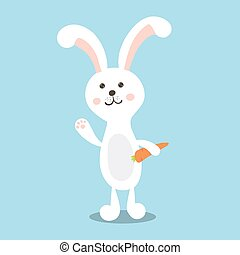 morot, kanin, isolerat, illustration., vektor, blå, vit, påsk, bakgrund.