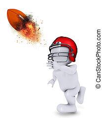 Morph Man throwing flaming Americal football