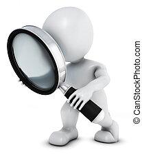 morph, procurar, vidro, homem, magnificar, 3d