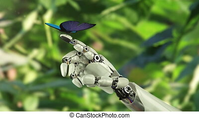 Morpho Menelaus Butterfly Lands on the Robot's Hand