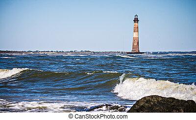 morris island lighthouse on a sunny day