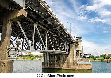 Morrison Bridge - View of the Morrison Bridge and Willamette...