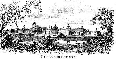 Morristown. insane asylum of the state of New Jersey, vintage engraved illustration. Trousset encyclopedia (1886 - 1891).